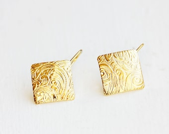 Square Hook Earrings, Etched Earrings, Small Gold Drop Earrings, Gold Vintage Earrings, Gold Drop Earrings, Small Dangle Earrings, Earrings