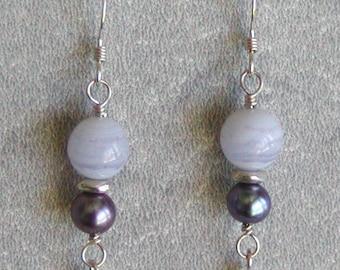 Blue Lace Agate Earrings