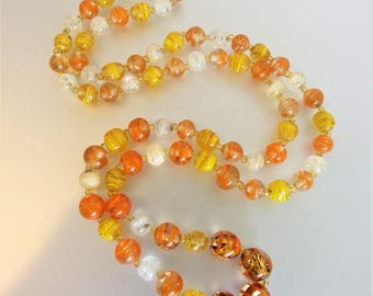 Pretty Vintage 1970's Orange Glass Bead Necklace
