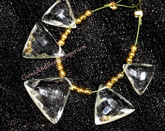 5 Pcs 2 Pair 1 Focal 10-15mm AAA Crystal Quartz Faceted Triangle Briolette, Gemstone Pair, Loose Gemstone Beads
