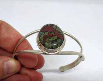 Dragons Blood Jasper Bracelet, Jasper Bracelet, Cuff Bracelet, Sterling Silver 925 Cuff Bracelet, Ladies Dragons Blood Jasper, 925, 1448