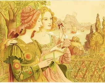 Art Nouveau Print by French Painter Armand Point called Golden Legend