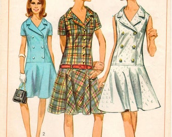 Vintage 1967 Simplicity Pattern 7005 - Misses One-Piece Dress with Semi-Circular Skirt and Lowered Waistline Seam - Size 14 - Bust 34