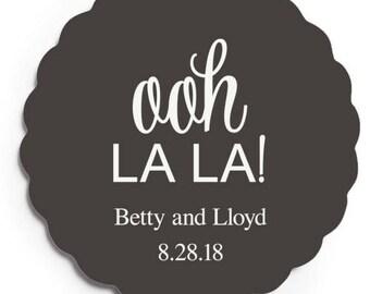 Set of 100 Scalloped Wedding Coasters - Ooh La La - Custom Coasters - Weddings - Wedding - Wedding Reception - Wedding Coasters