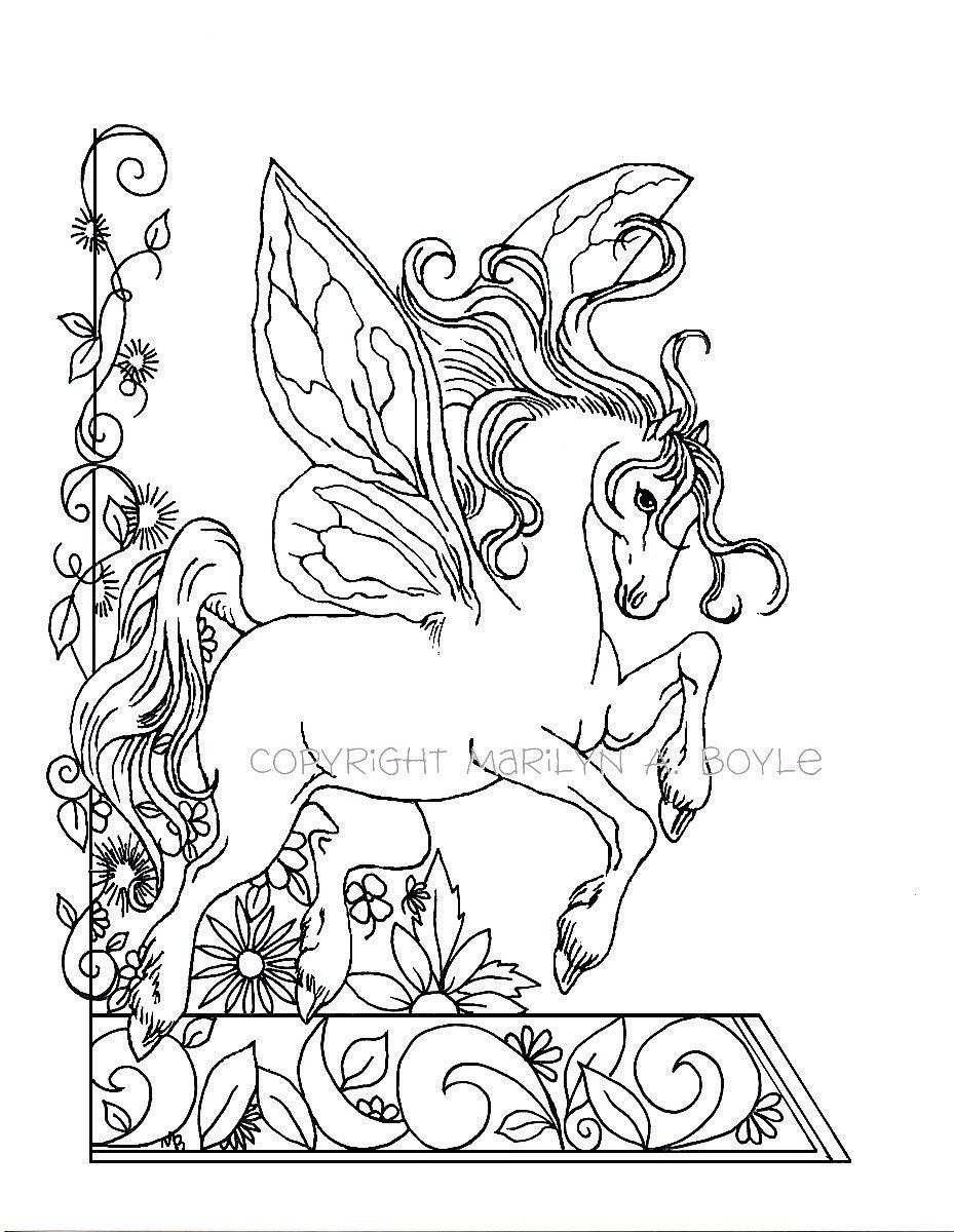 ADULT COLORING PAGE; fantasy, fairy horse, flowers, garden, nature ...