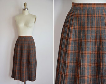 50s Yearly Harvest skirt / vintage 1950s wool skirt/ vintage wool plaid skirt