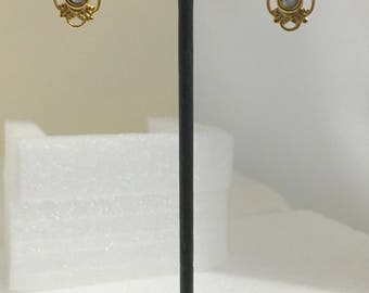 Gold plated brass hook earrings with mother of pearl stones