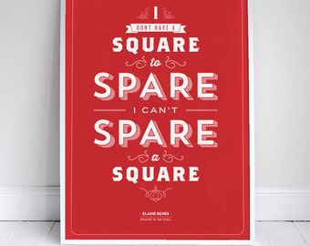 Spare a Square Poster - Seinfeld Quote Print - Vintage Retro Typography - Bathroom - 11 x 17 // 18 x 24 // 24 x 36
