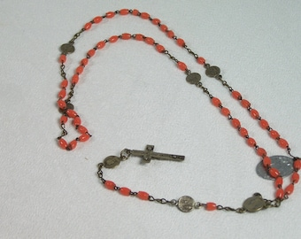 Coral glass beads rosary prayer Lourdes rosary Mary medal Made in France vintage