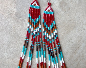 Native American Inspired Extra Long Beaded Earrings, bohemian earrings, festival jewelry