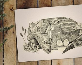 Hand Drawn Fantasy Surreal Illustration | Deer Art Print | Wall Decor | Pen Ink Sketch