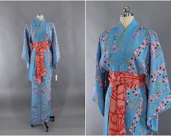 Vintage Silk Kimono Robe / Vintage Dressing Gown / Vintage Lingerie Robe / Loungewear / 1970s Blue & Pink Floral