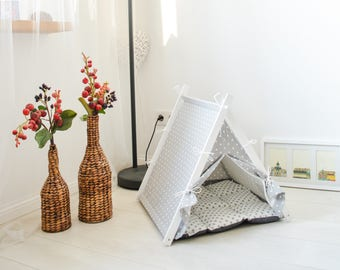 Dog and cat bed. White dot teepee tent + gray dot cushion (Standard size)
