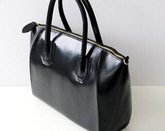 Leather handbag Scarlet in black, women's leather bag, leather shoulder bag, handmade, leather purse, shoulder bag.