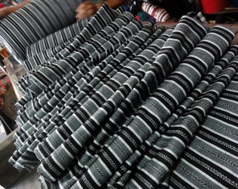 Guatemalan Ikat Fabric in Shades of Gray Stripes