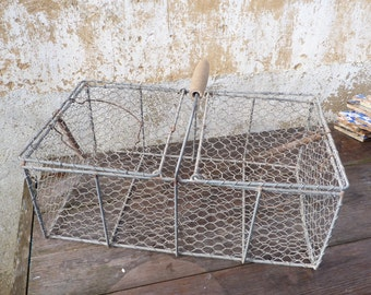 Vintage Antique big French wire farm basket for holding rabbits & poltry to the market