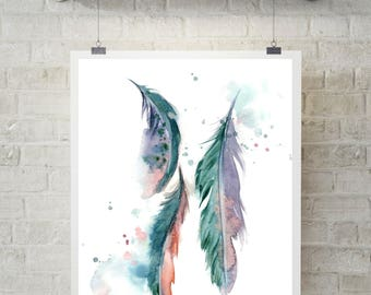 Feathers art print, teal feathers art, watercolor painting print, modern wall decor print, feathers giclee print