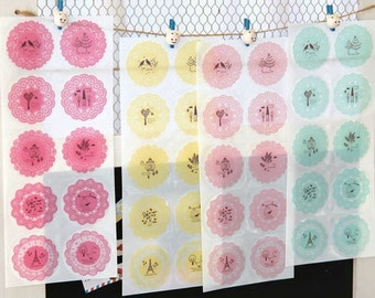Lace Doilies Sticker, Pink Lace Sticker, Yellow Lace Sticker, Set of 10