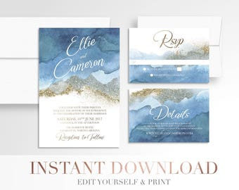 Printable Navy Ombre Watercolor Wedding Invitation // Gold and Navy // Printable Invitation Suite // Digital // Modern  // Templett