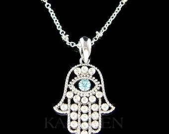 Swarovski Crystal Dainty Aqua Evil Eye Jewish Hamsa Hamesh Hand Necklace Jewelry Religious  New Year Christmas Birthday Women BFF Gift New