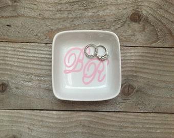 Monogrammed Jewelry Dish, Ring Dish, Personalized Ring Dish, Customized Jewelry Dish, Jewelry Dish, Co Worker, Jewelry Holder, Christmas