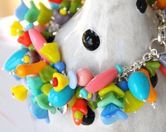 Chunky Bracelet, ChaCha Bracelet, Beaded Statement Bracelet, Neon Pastel Jewelry, Colorful Bracelet, Vintage Lucite Bracelet,