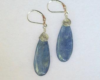 Wire-wrapped Kyanite Earrings