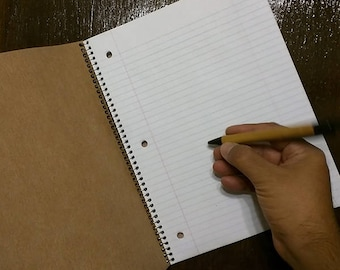 Blank wooden notebook 10.5 by 8 inches college ruled 1 subject notebook