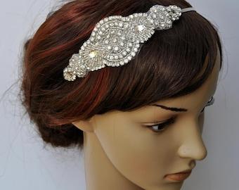 Bridal Headpiece, Bridal Headband, Wedding Headband Headpiece, Rhinestone Flapper Headband, 1920s headpiece , Prom Bridesmaid Headband