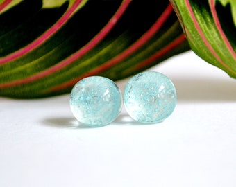 Turquoise Bubble Glass Stud Earrings