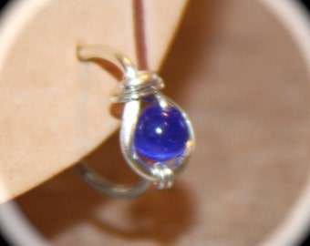 Belly Button Ring, Blue Beaded Belly Button Jewelry, 18 or 16 gauge Belly Button Hoop