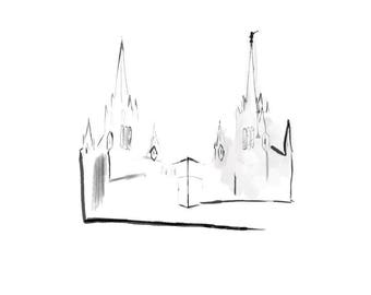 San Diego LDS Temple Painting Printable JPEG & PNG