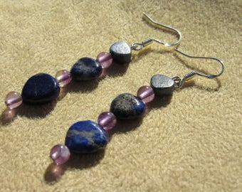 Lapis Lazuli  Amethyst Earrings in Sterling Silver, Psychic Woman, Healing Stones, Earrings, Gemstone Synergy