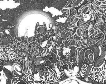 Illustration Print - Black and white Moonlight meeting. Organically surreal