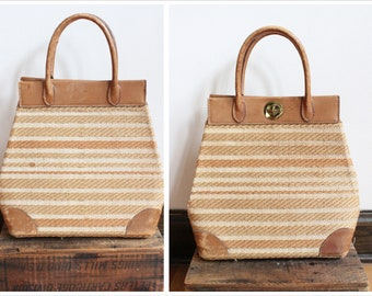 1950s Handbag // Oversized Straw & Leather Handbag // vintage 50s bag