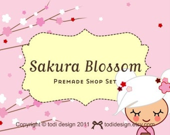Sakura Blossom- Premade Etsy Shop Cover set