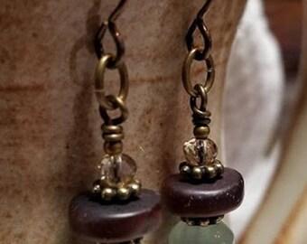 Handmade Earrings - Hypoallergenic Niobium, Trio Drop: Crystal, Wood, Stone