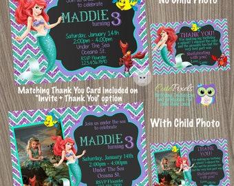 Little Mermaid Invitation, Ariel Invitation, Disney Little Mermaid, Little Mermaid Birthday, Princess Ariel, Mermaid Invitation