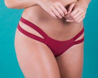 Burgundy 2 Strap Bikini Bottom-Cheeky Fit
