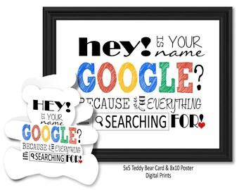 Valentine's Day Google Teddy Bear Card & Poster