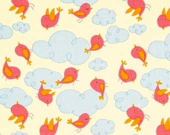 CLEARANCE David Walker Fabric - Free Spirit - Garden - Clouds - Pink - Fabric By The Yard