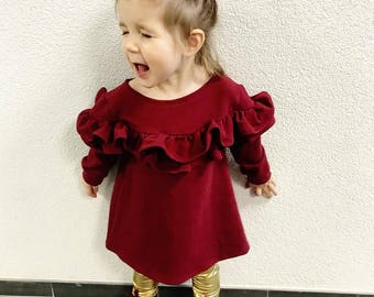 Handmade dark red dress for girls