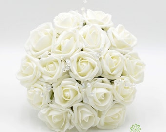 Artificial Wedding Flowers, Ivory Bridesmaids Bouquet Posy