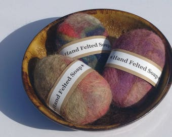 Felted wool soap, 3 bars, Oregon made, Pacific Northwest gift