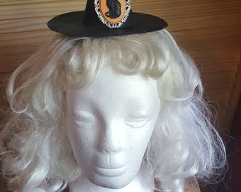 Mini Witch Hat with Cat Cameo- Perfect for Halloween