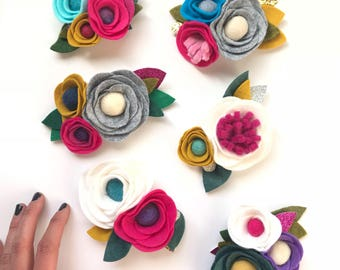 Colorful Wool Felt Flower Photo Prop Birthday Headband or Clip