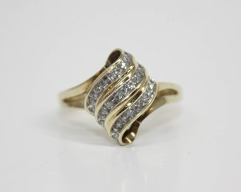 10K Yellow Gold Diamond cluster channel ring