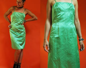 1960s Pistachio Green Satin Spaghetti Strap Fitted Cocktail Dress