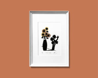 Sunflower Shadow - Original linocut print