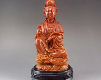 N4353 Chinese Shoushan Stone Ruyi Kwan-yin Statue